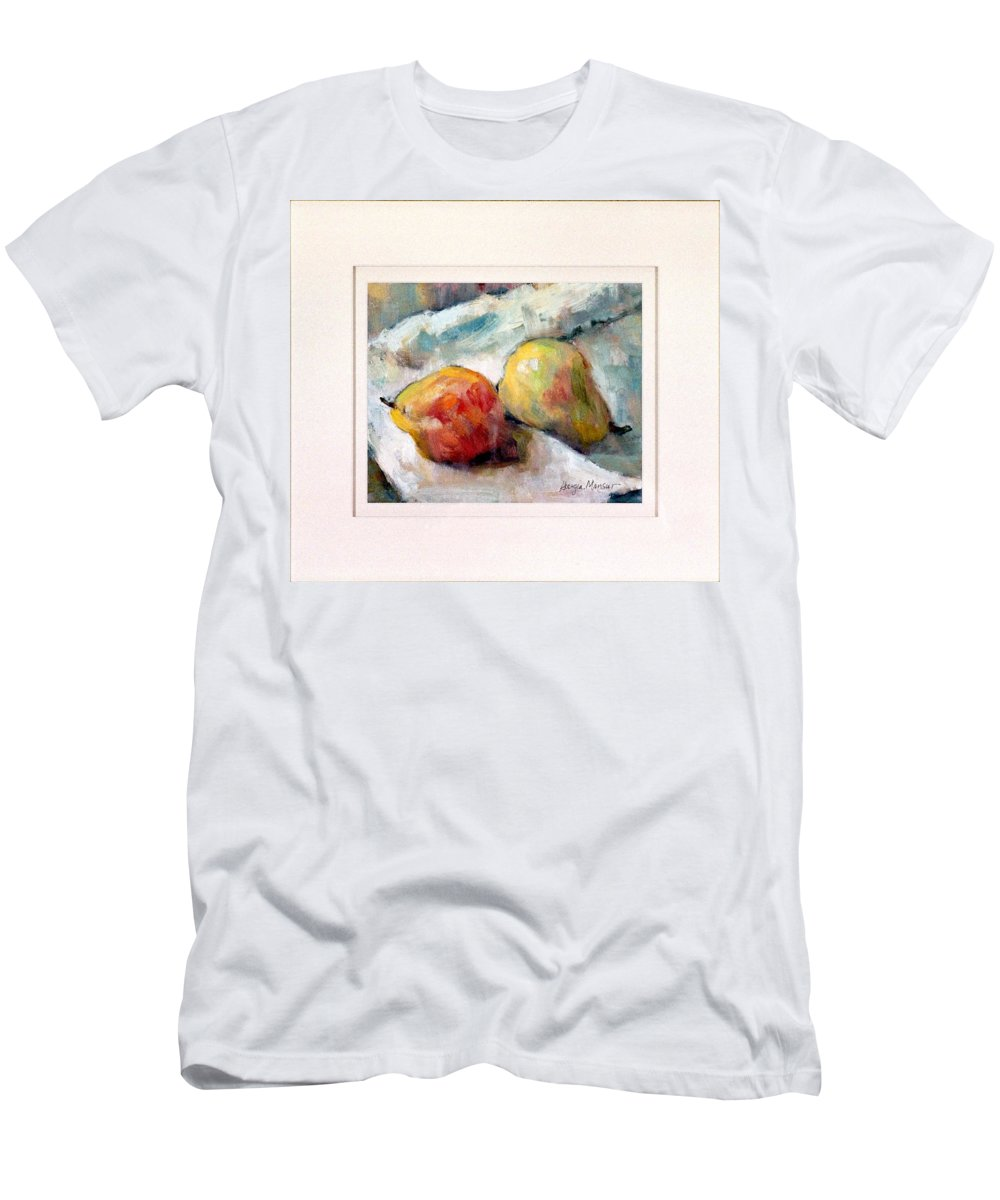 Pears Men's T-Shirt (Athletic Fit) featuring the painting A Pair Of Pears by Georgia Mansur