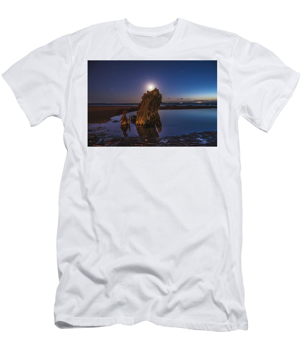 Night Men's T-Shirt (Athletic Fit) featuring the photograph A Peaceful Night by Thomas Morrison