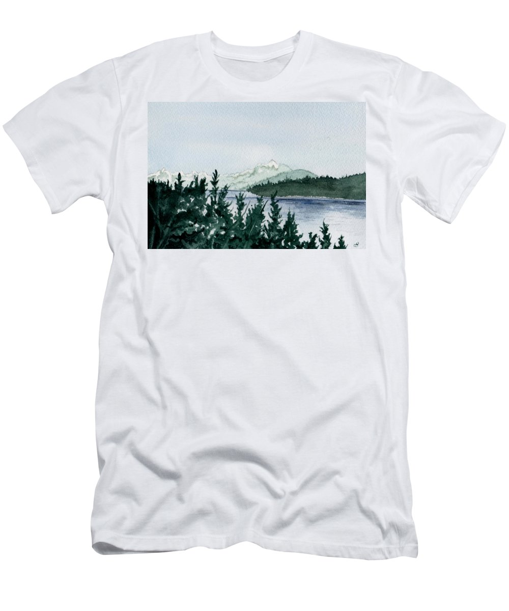 Landscape Men's T-Shirt (Athletic Fit) featuring the painting A Peaceful Place by Brenda Owen