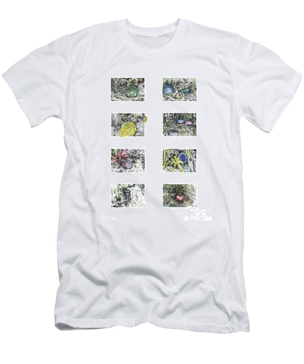 Tropical Men's T-Shirt (Athletic Fit) featuring the drawing A Potters Garden by Kerryn Madsen-Pietsch
