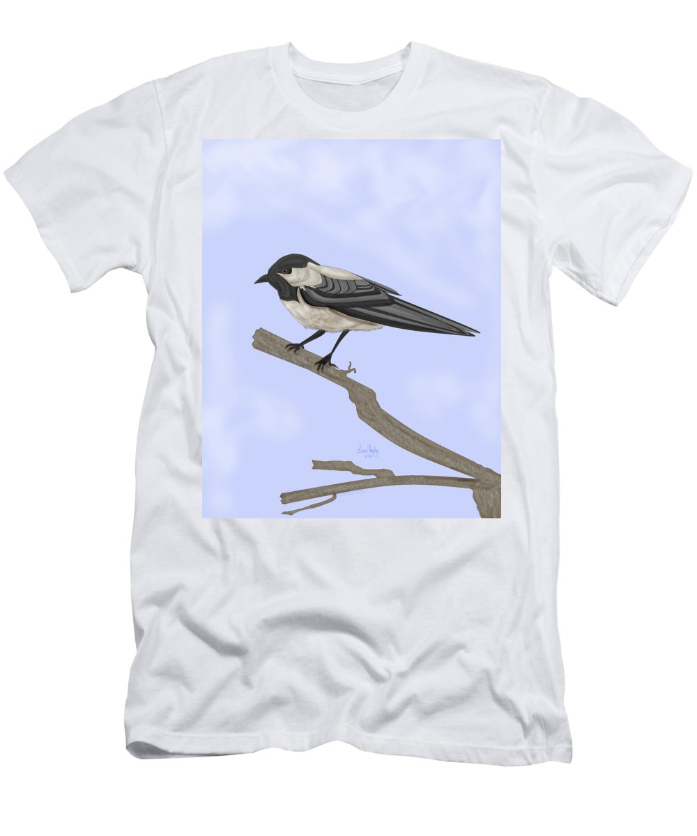Bird Men's T-Shirt (Athletic Fit) featuring the painting A Small Guest by Anne Norskog