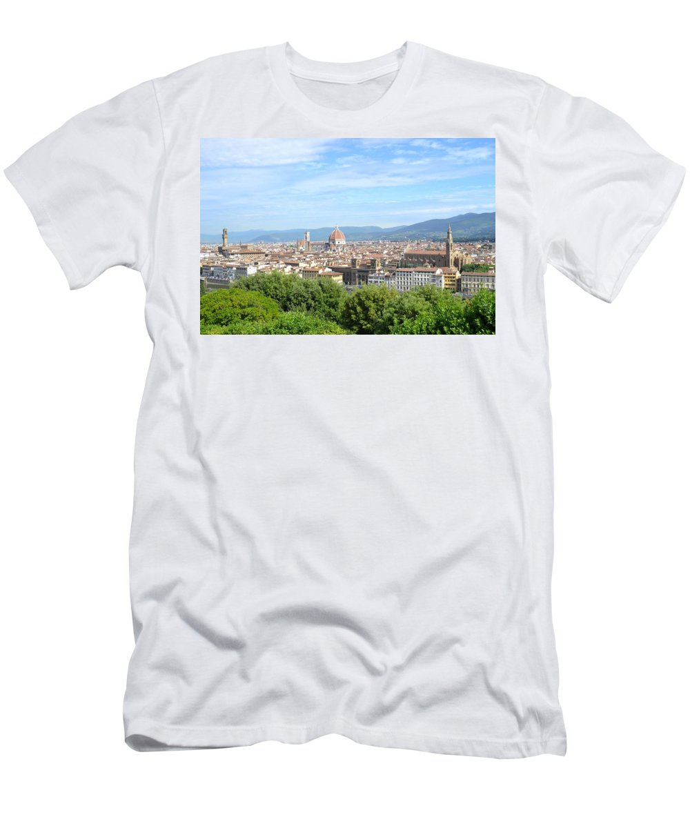Florence Men's T-Shirt (Athletic Fit) featuring the photograph A View Of Florence by Laura Mayo