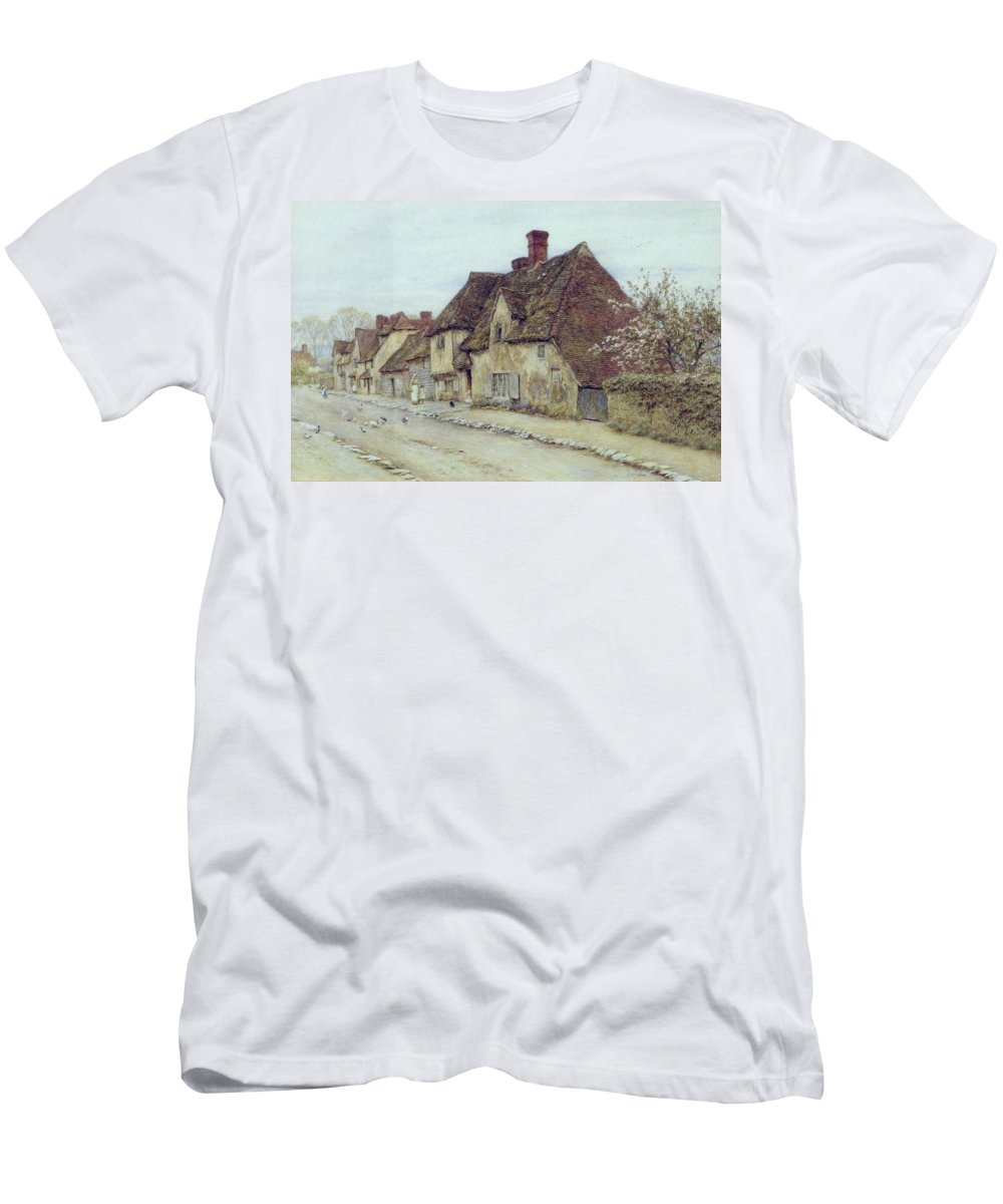 Cottage; Mother And Child; Rural Scene; Country; Countryside; Home; Path; Chicken; Picturesque; Idyllic; Daughter; Street; Row Of Houses; Female Men's T-Shirt (Athletic Fit) featuring the painting A Village Street Kent by Helen Allingham