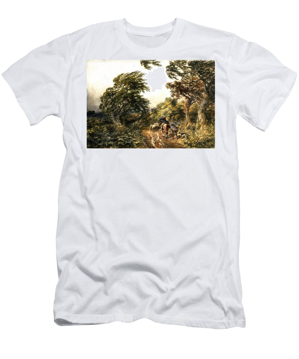 Samuel Bough - A Windy Day Men's T-Shirt (Athletic Fit) featuring the painting A Windy Day by MotionAge Designs