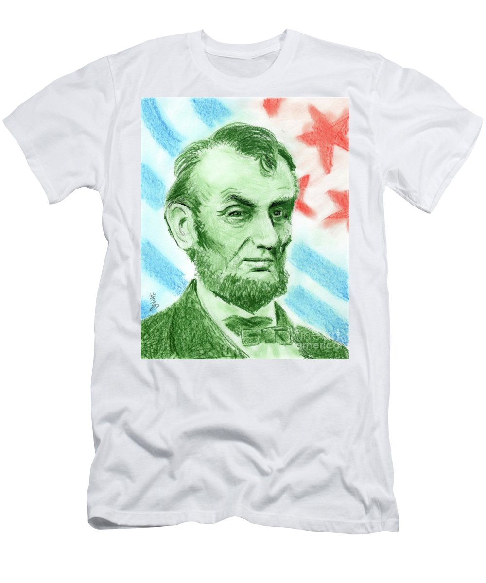 Abraham Lincoln Men's T-Shirt (Athletic Fit) featuring the drawing Abraham Lincoln by Yoshiko Mishina