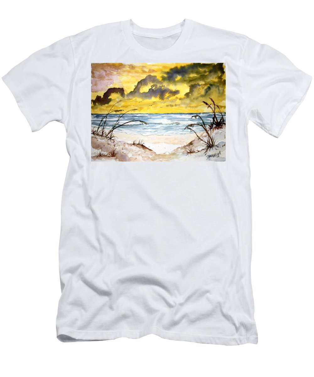 Beach Men's T-Shirt (Athletic Fit) featuring the painting Abstract Beach Sand Dunes by Derek Mccrea