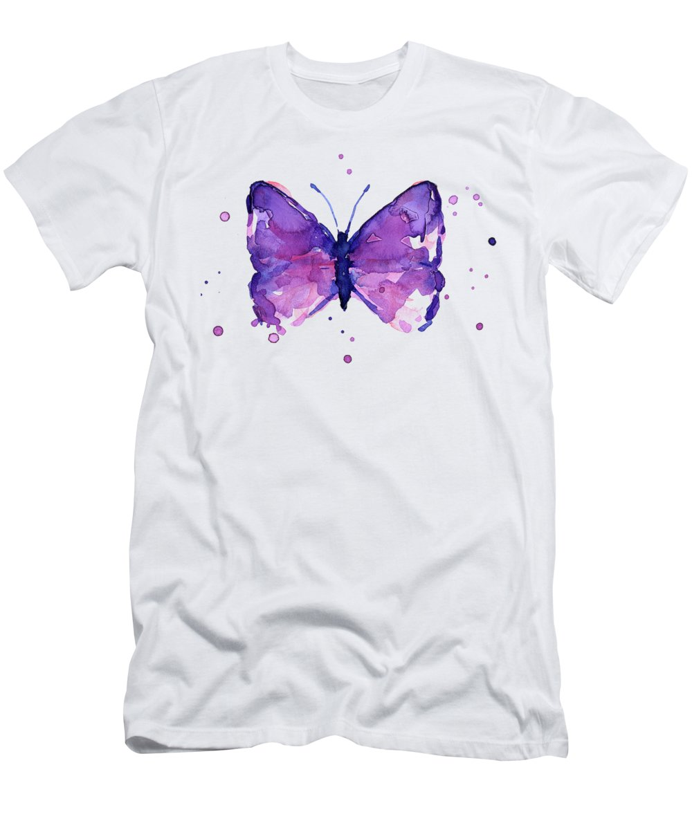 Abstract Men's T-Shirt (Athletic Fit) featuring the painting Abstract Purple Butterfly Watercolor by Olga Shvartsur