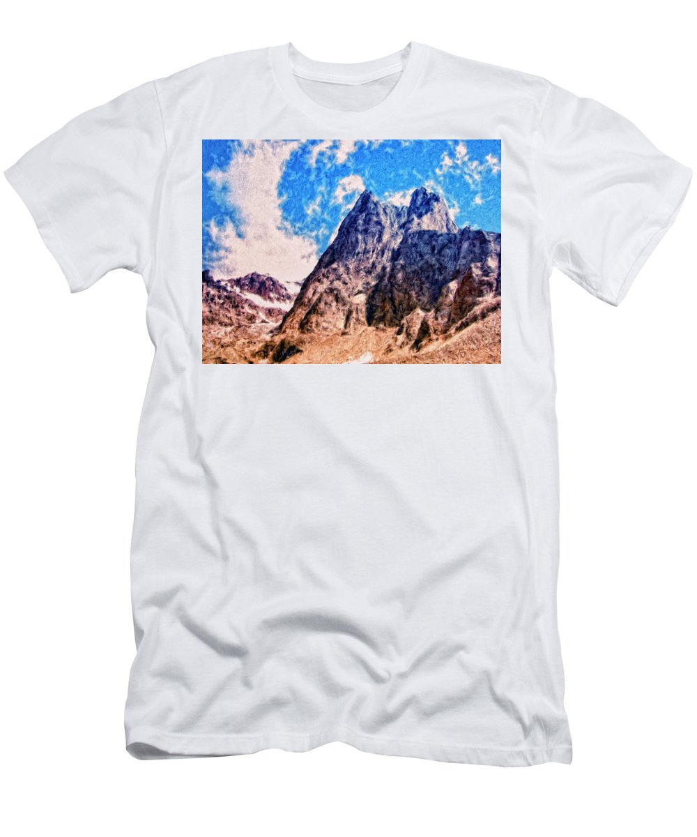 Aconcagua Men's T-Shirt (Athletic Fit) featuring the painting Aconcagua Blue Sky by Dominic Piperata