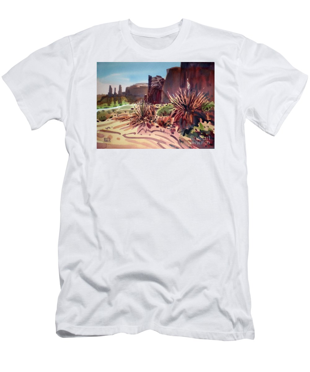 Monument Valley Men's T-Shirt (Athletic Fit) featuring the painting Across Monument Valley by Donald Maier