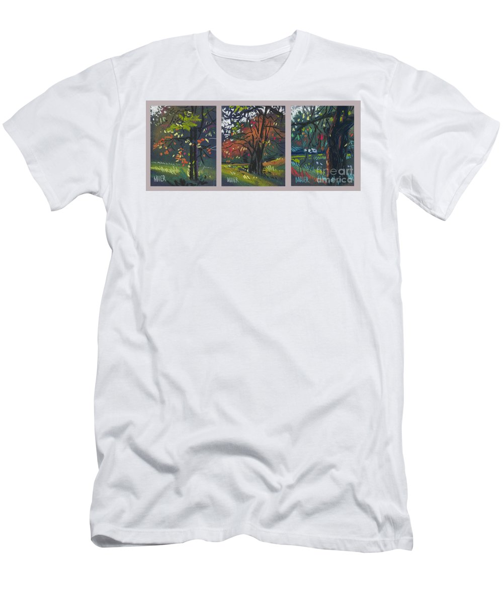 Autumn Foliage Men's T-Shirt (Athletic Fit) featuring the painting Across The Creek Triplet by Donald Maier