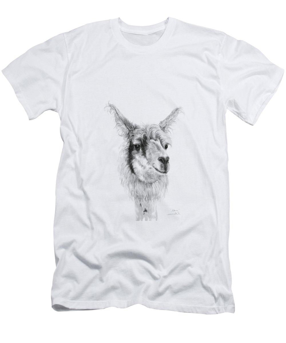 Llama Art Men's T-Shirt (Athletic Fit) featuring the drawing Adam by K Llamas