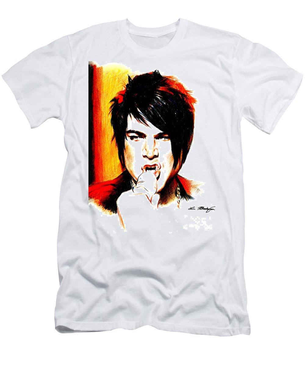 Adam Lambert T-Shirt featuring the drawing Adam Lambert by Lin Petershagen
