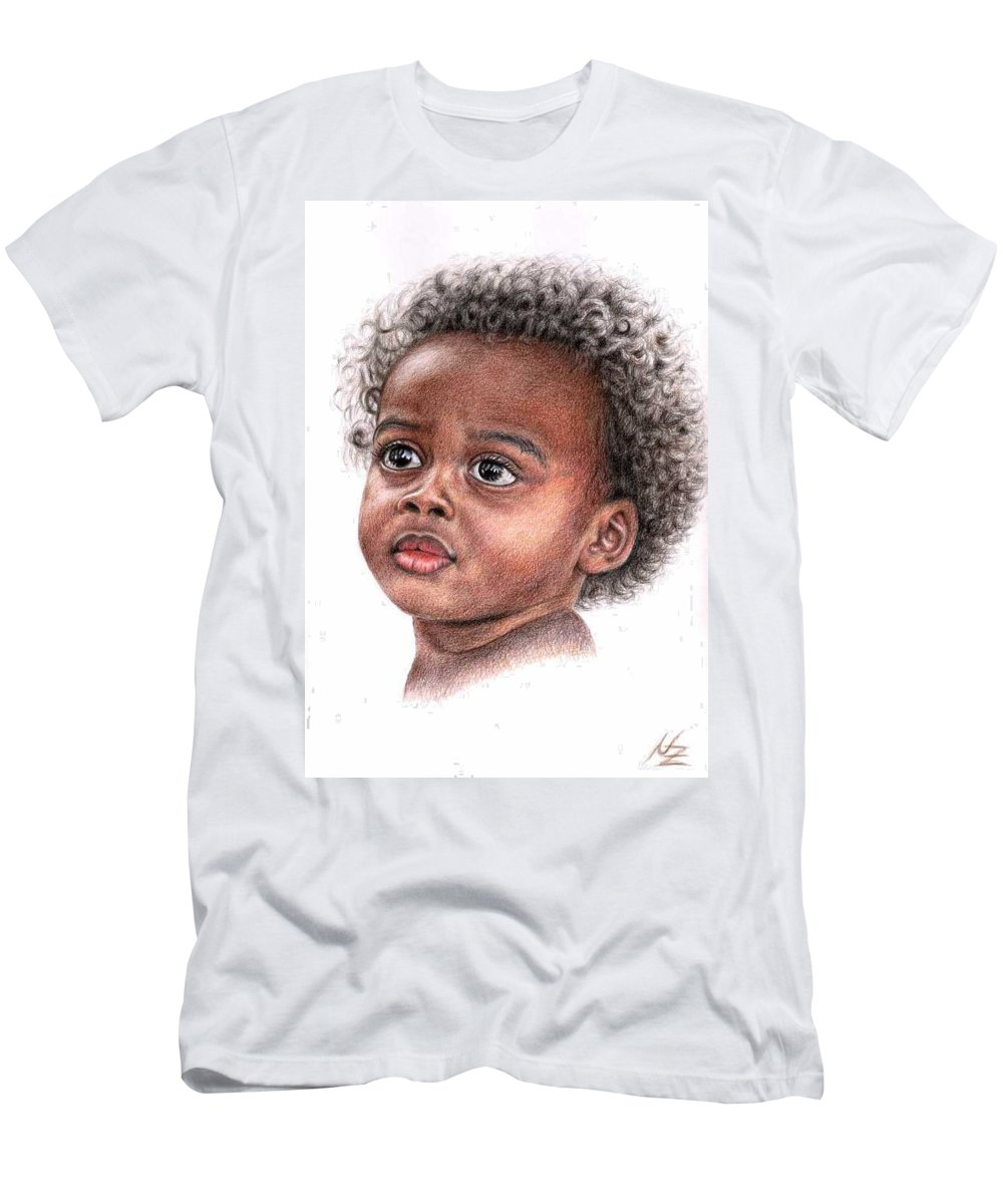 Child Men's T-Shirt (Athletic Fit) featuring the drawing African Child by Nicole Zeug