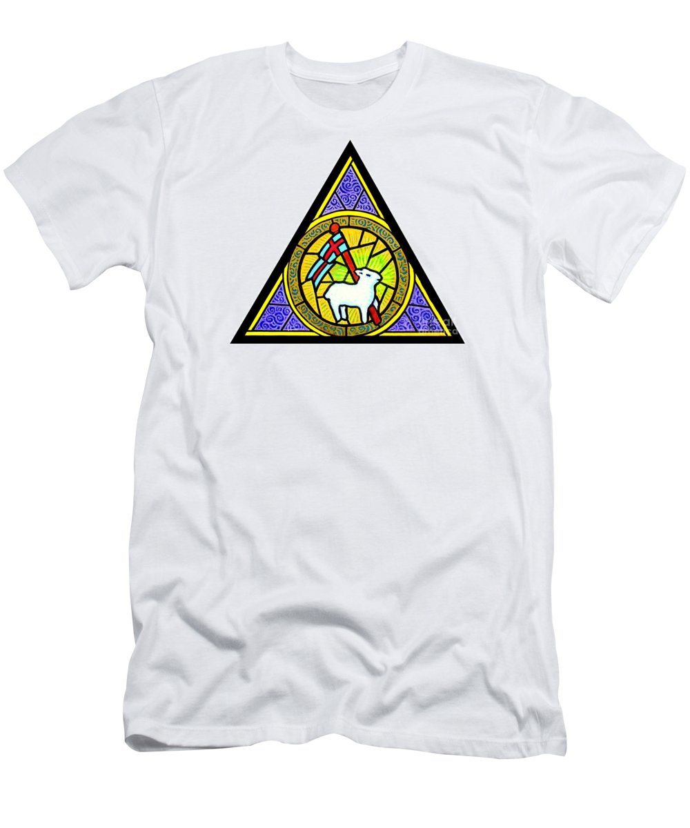 Lamb Men's T-Shirt (Athletic Fit) featuring the painting Agnus Dei by Jim Harris