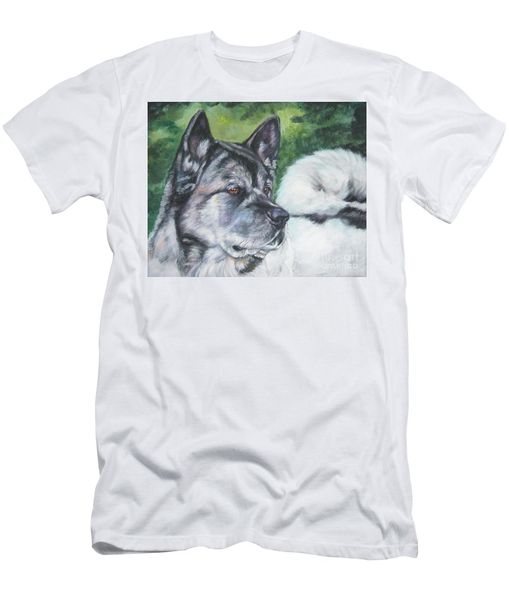 Dog Men's T-Shirt (Athletic Fit) featuring the painting Akita by Lee Ann Shepard