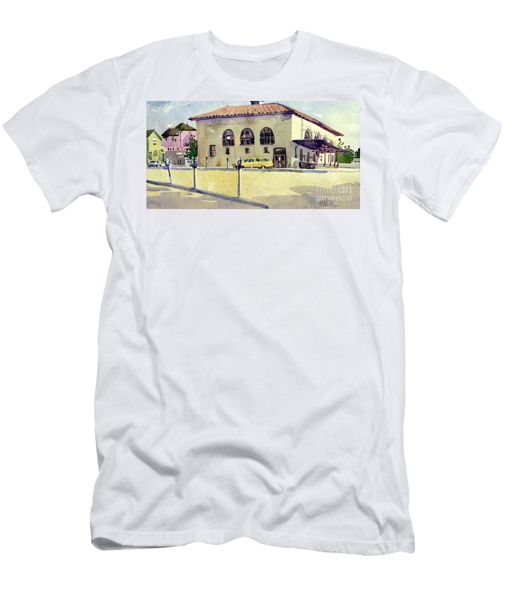 Us Post Office Men's T-Shirt (Athletic Fit) featuring the painting Alameda Post Office by Donald Maier