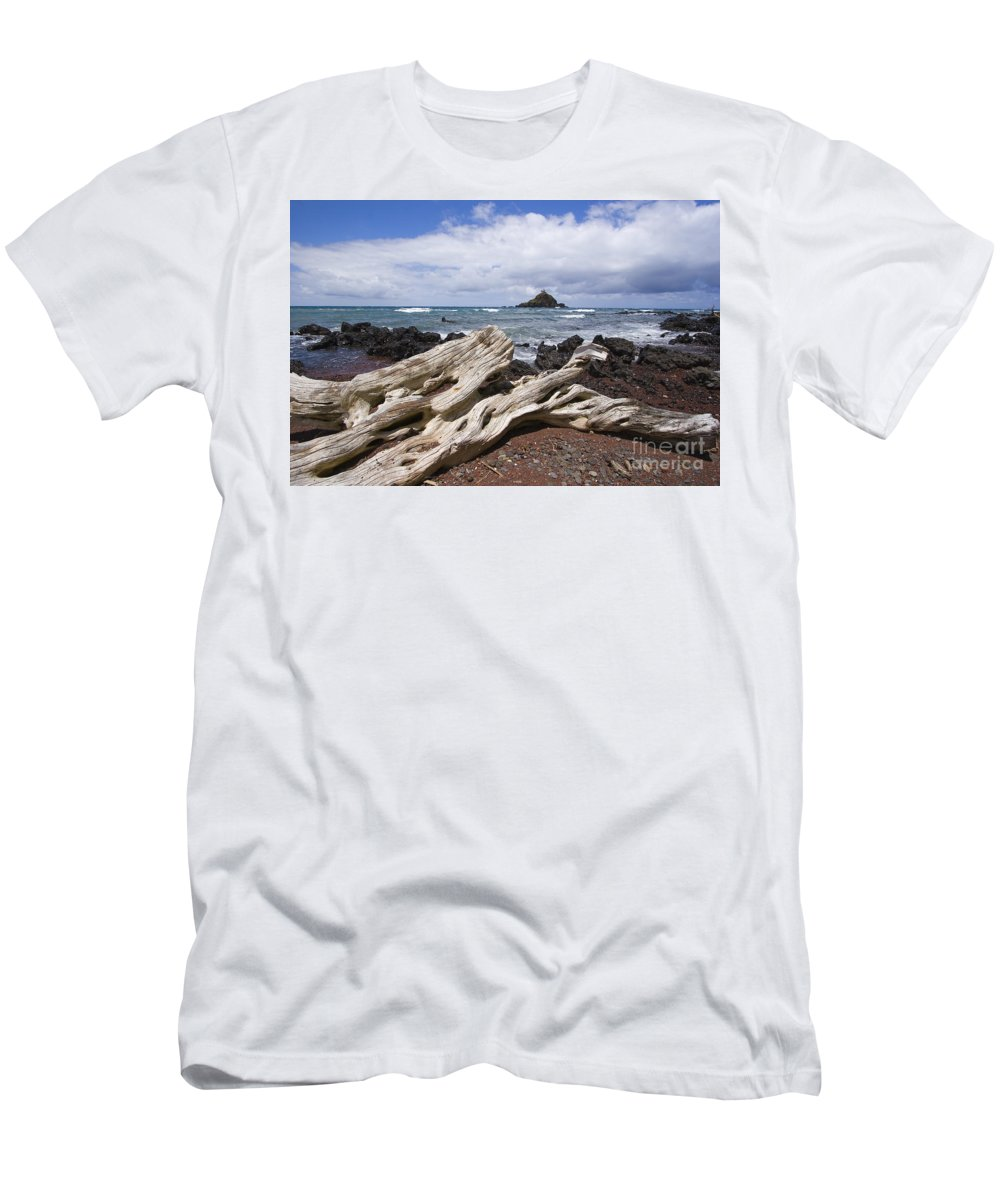 Alau Men's T-Shirt (Athletic Fit) featuring the photograph Alau Islet, Driftwood by Ron Dahlquist - Printscapes