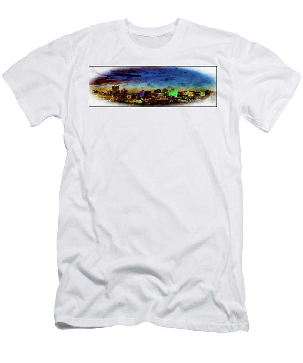 Men's T-Shirt (Athletic Fit) featuring the digital art Albuquerque New Mexico Skyline by Rod Jellison