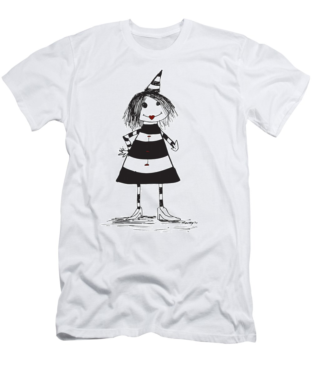 Alice Men's T-Shirt (Athletic Fit) featuring the drawing Alice by Michael Mooney