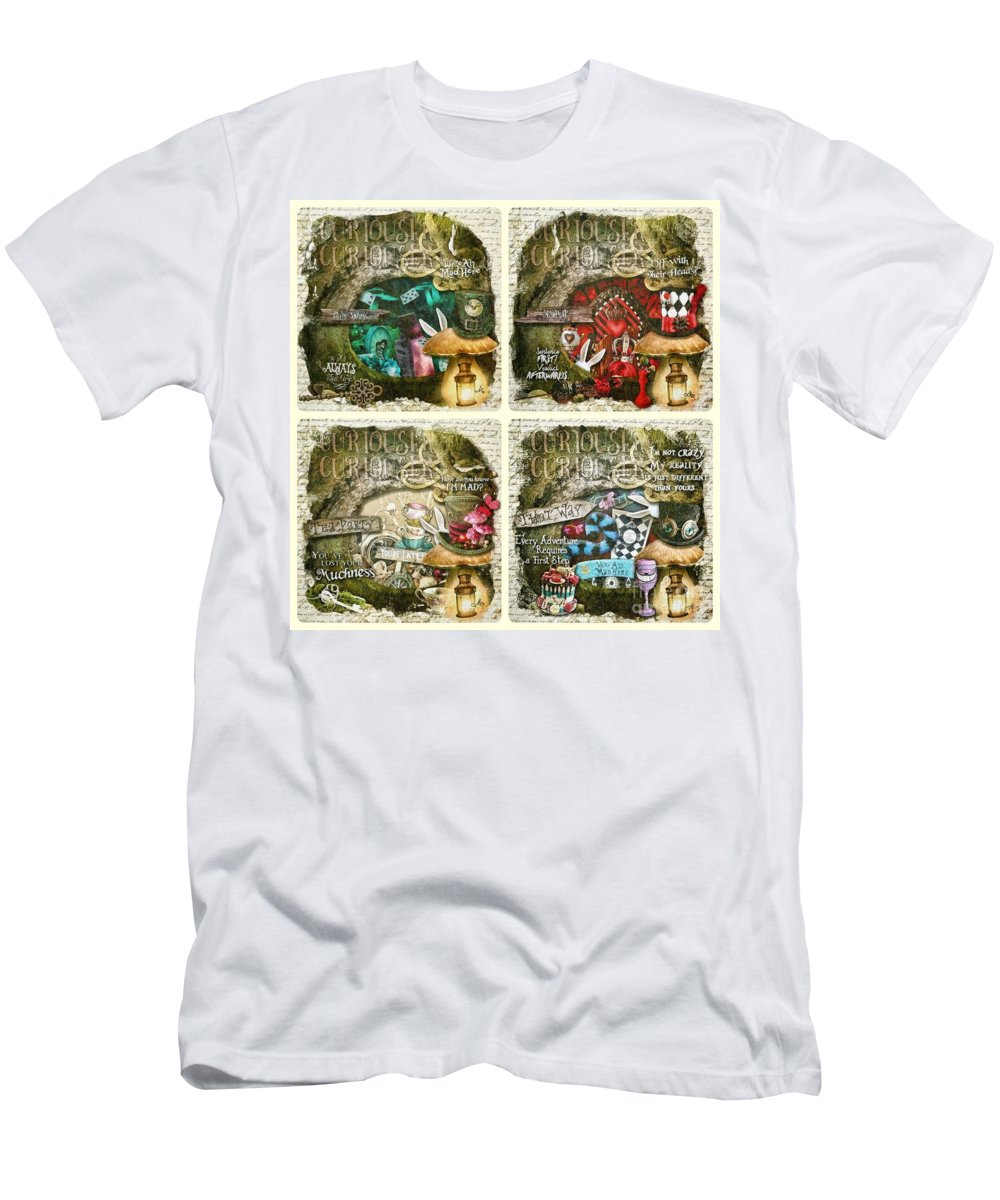 Alice Of Wonderland Men's T-Shirt (Athletic Fit) featuring the painting Alice Of Wonderland Series by Mo T