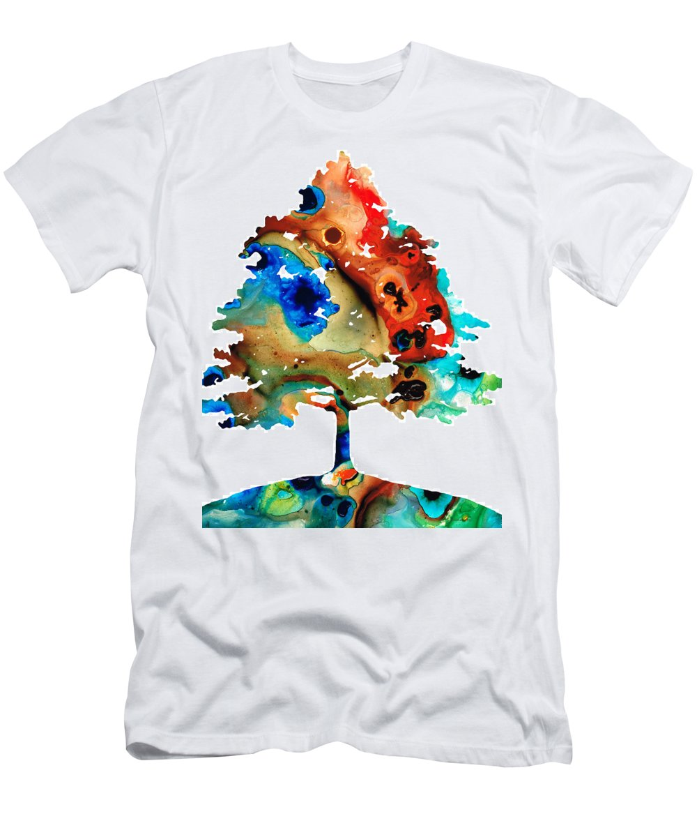 Tree Men's T-Shirt (Athletic Fit) featuring the painting All Seasons Tree 3 - Colorful Landscape Print by Sharon Cummings