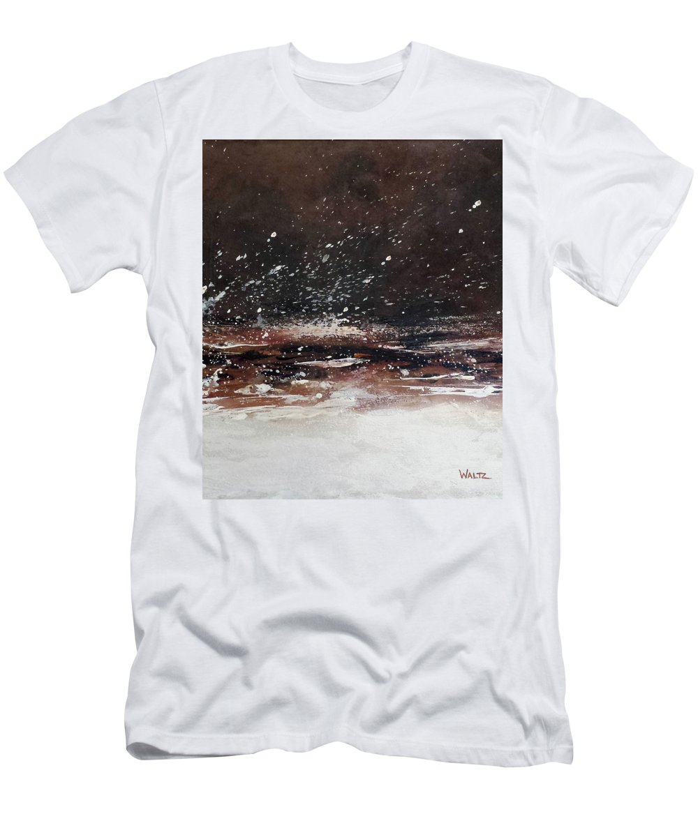 Abstract Energy Earth Tones Men's T-Shirt (Athletic Fit) featuring the painting Allosteric Transition by Beth Waltz