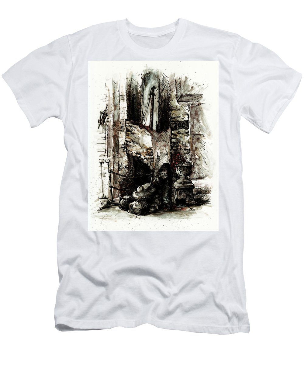 Human Men's T-Shirt (Athletic Fit) featuring the drawing Almost 200 by Rachel Christine Nowicki