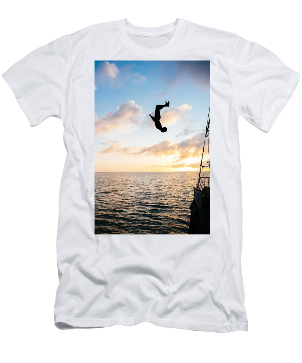 Backlip Men's T-Shirt (Athletic Fit) featuring the photograph Aloft Into The Amber Skies by Lance Laurence