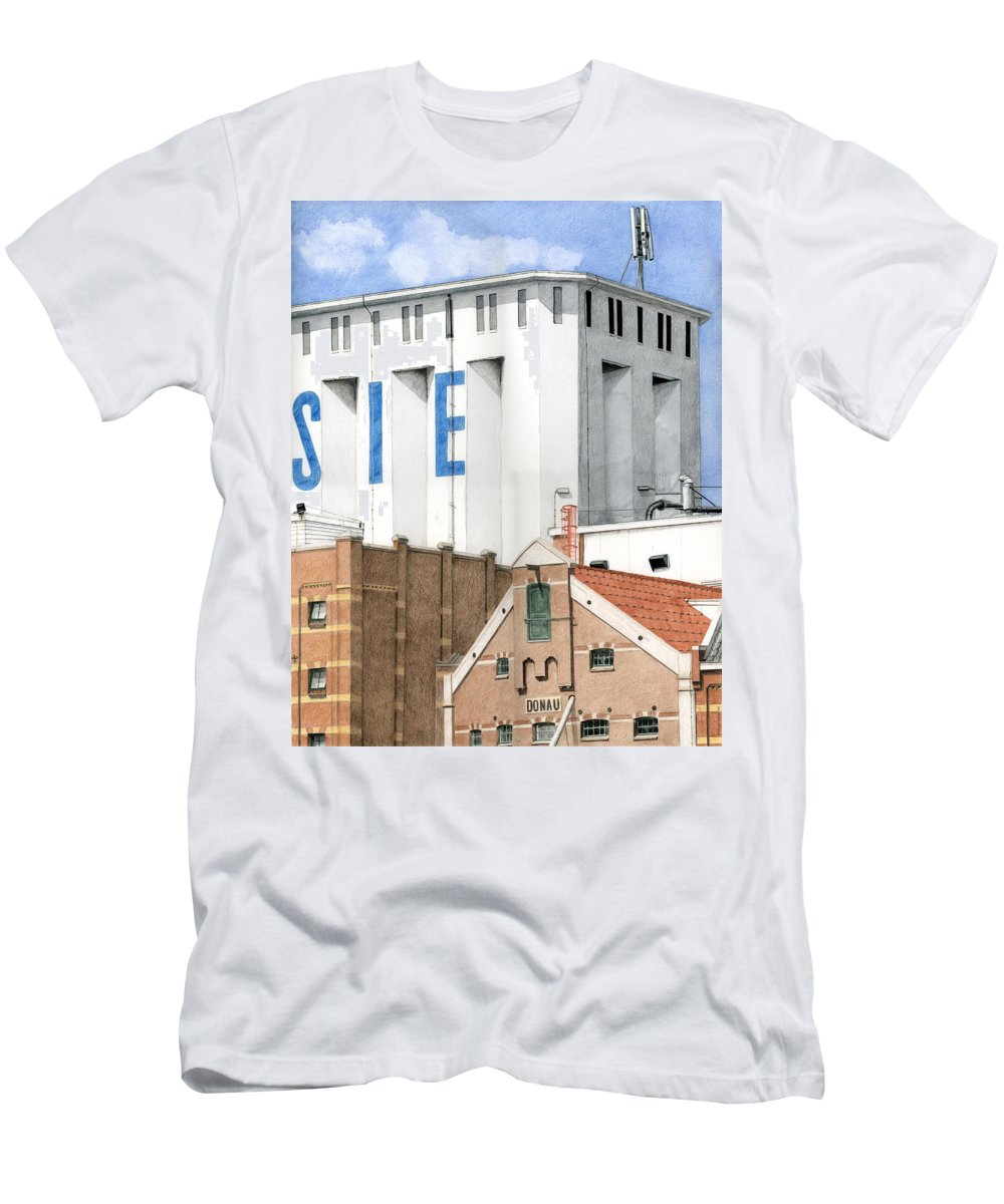 Mixed Media Men's T-Shirt (Athletic Fit) featuring the mixed media Along The River Zaan Lassie Silo by Rob De Vries