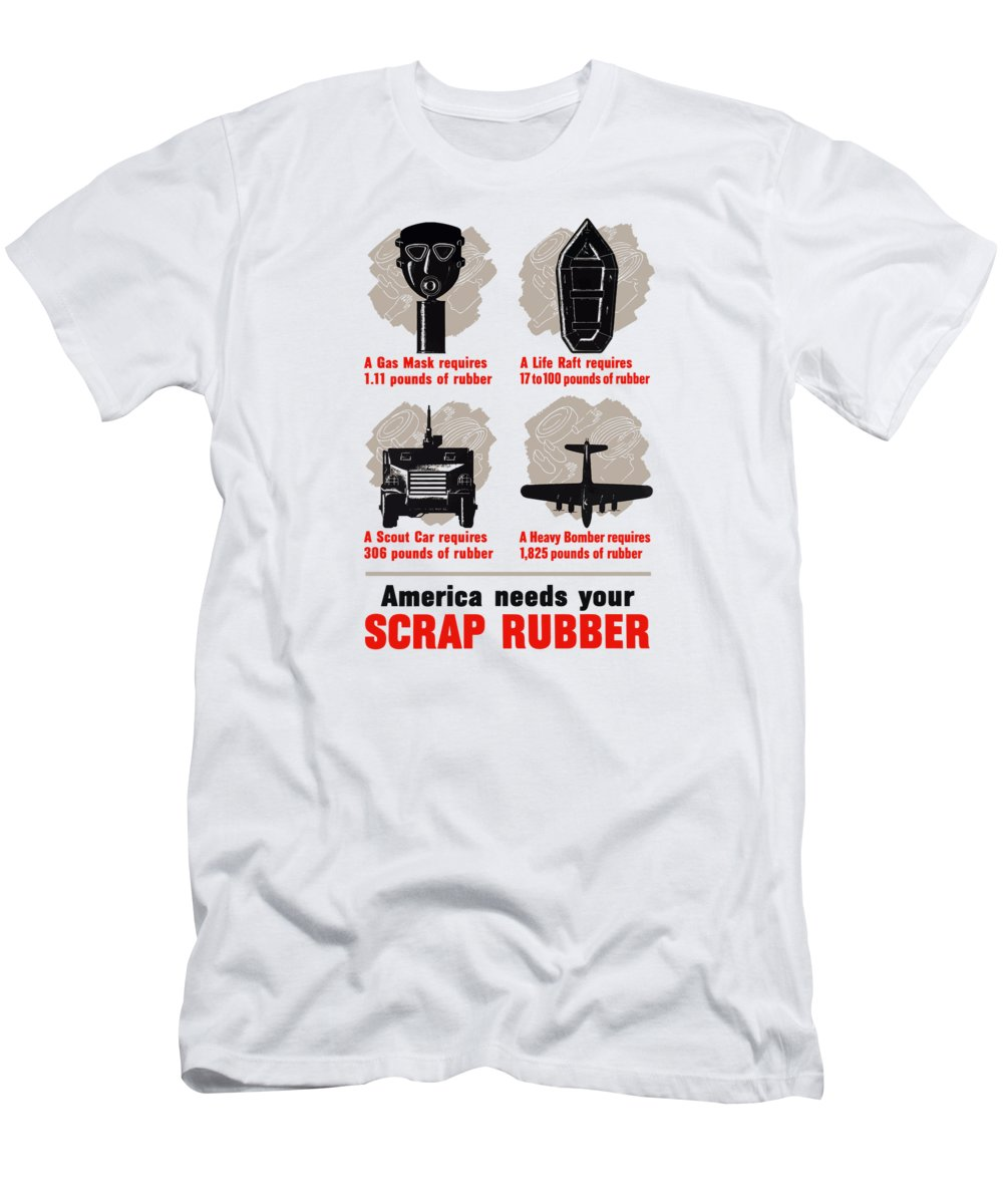 Conservation T-Shirt featuring the painting America Needs Your Scrap Rubber by War Is Hell Store