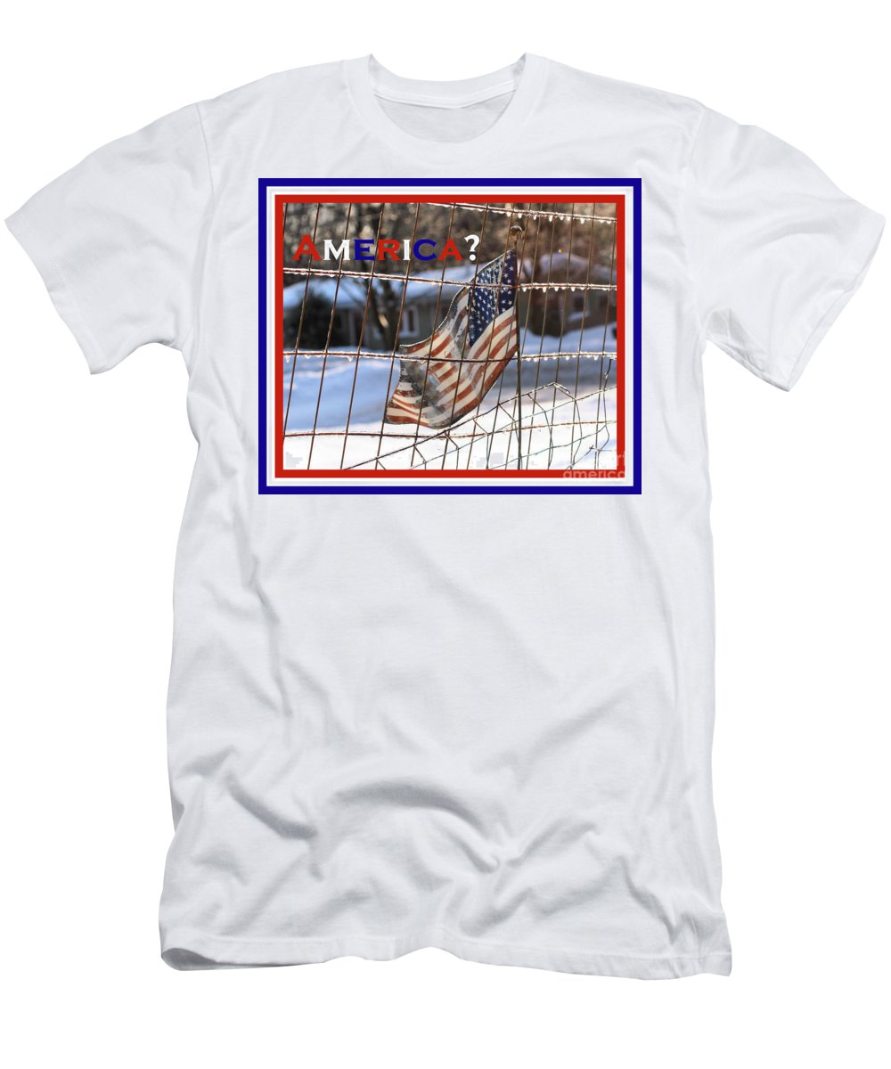 America Men's T-Shirt (Athletic Fit) featuring the photograph America Where Are We by Smilin Eyes Treasures