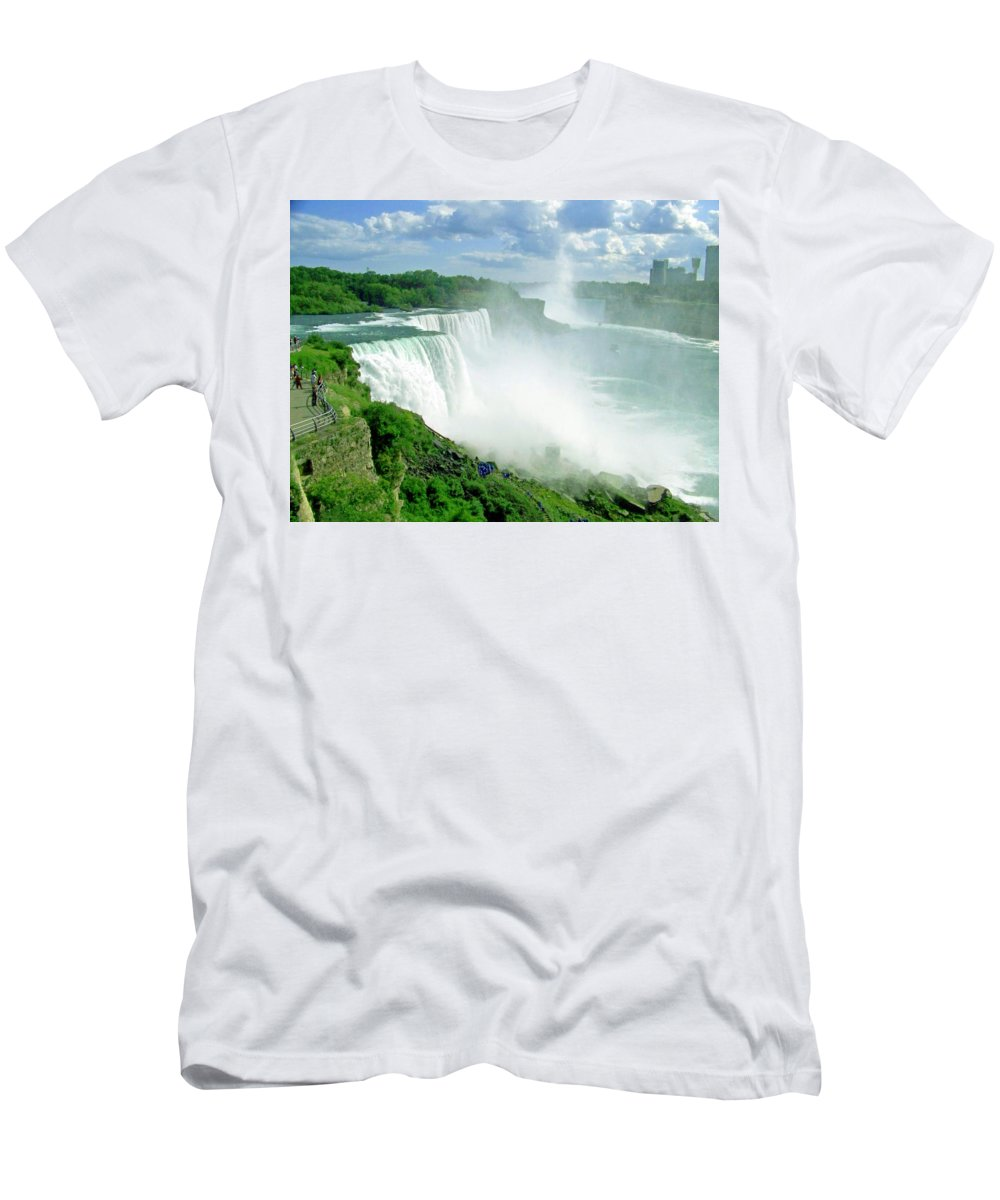 Waterfall Men's T-Shirt (Athletic Fit) featuring the photograph American And Niagra Falls At Niagra by Laurie Paci