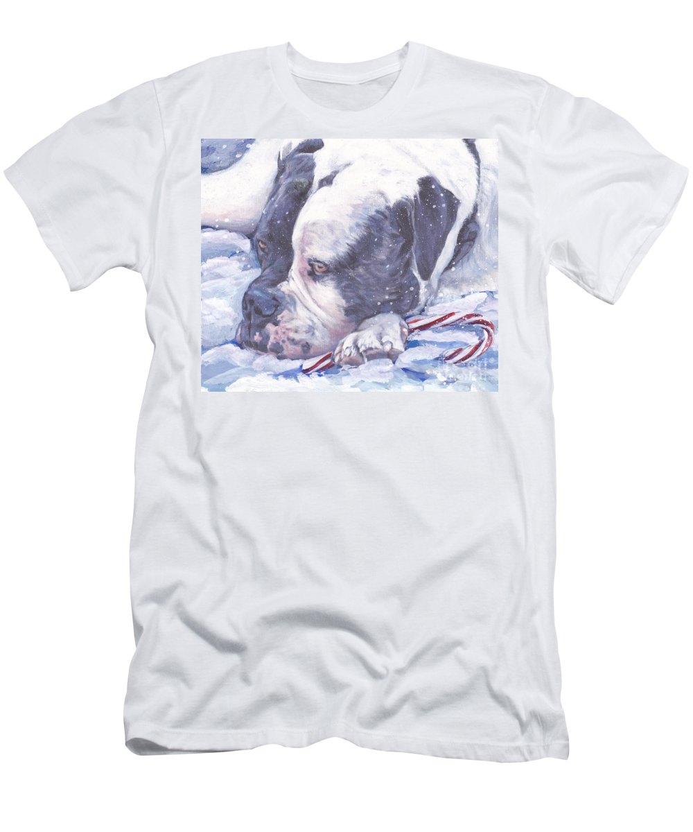 American Bulldog Men's T-Shirt (Athletic Fit) featuring the painting American Bulldog Christmas by Lee Ann Shepard