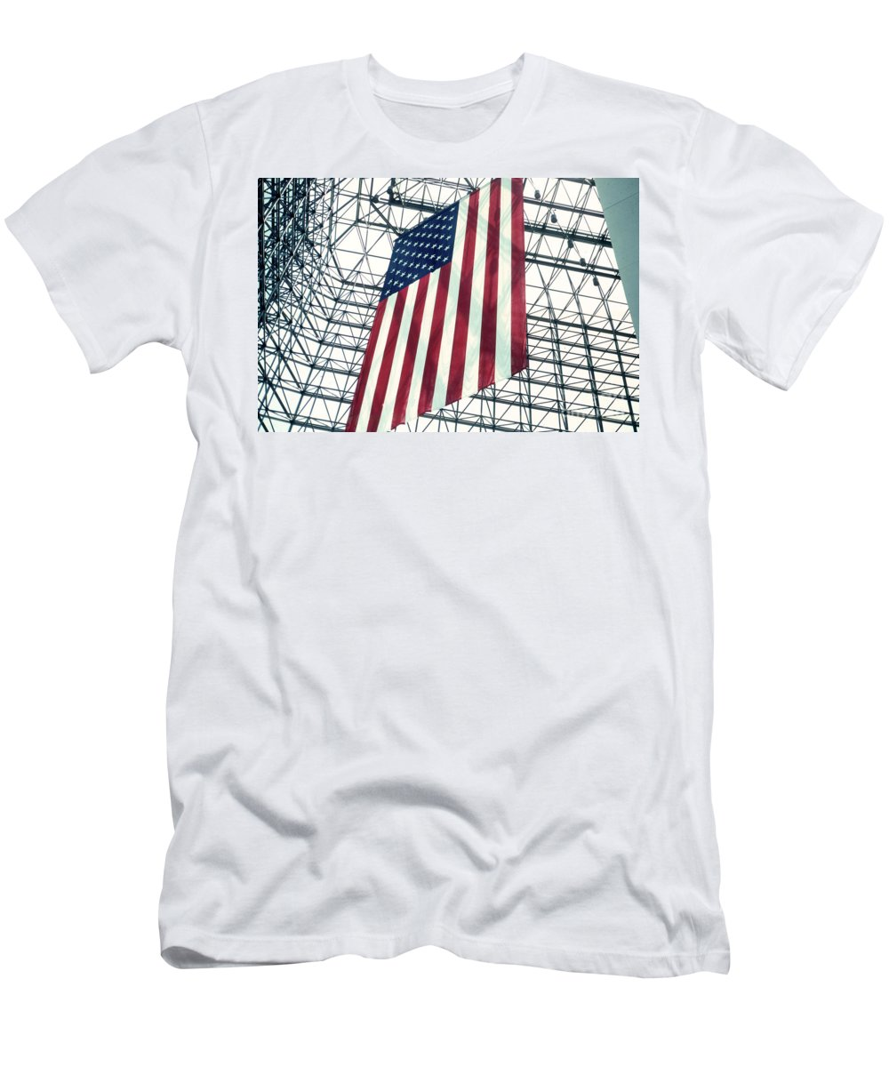Flag Men's T-Shirt (Athletic Fit) featuring the photograph American Flag In Kennedy Library Atrium - 1982 by Thomas Marchessault