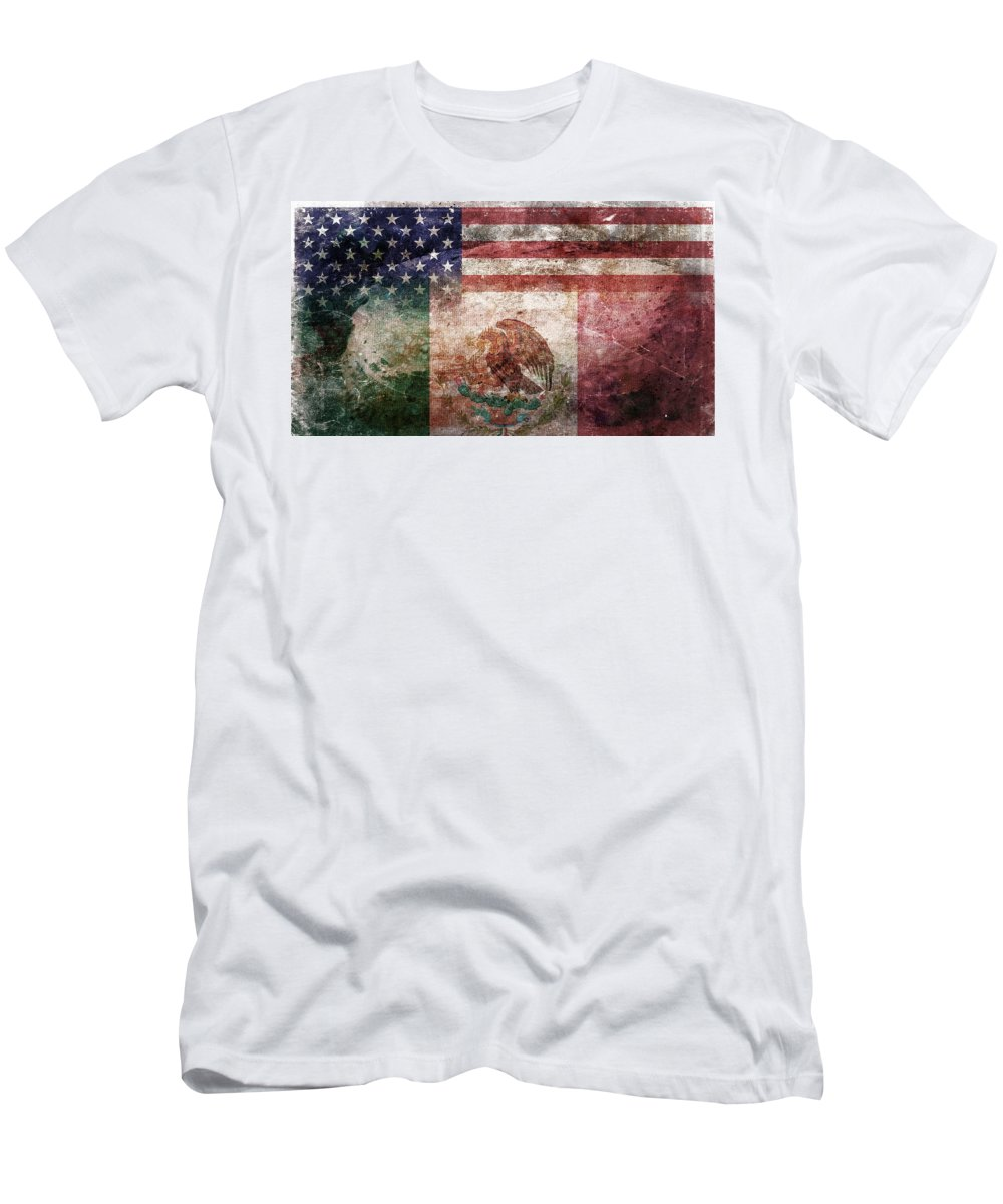Composite Men's T-Shirt (Athletic Fit) featuring the digital art American Mexican Tattered Flag by Az Jackson