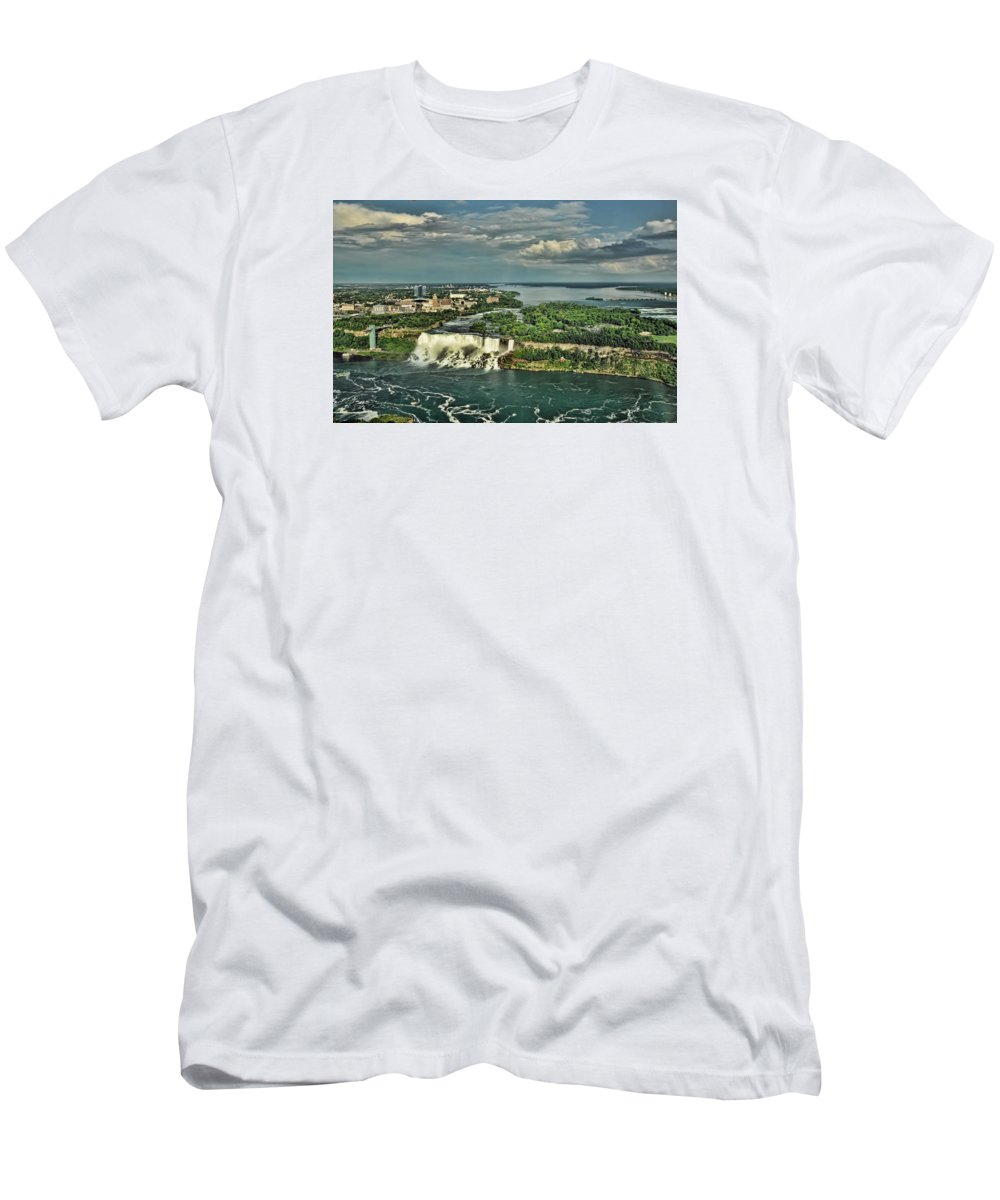American Niagara Falls Men's T-Shirt (Athletic Fit) featuring the photograph American Niagara Falls by Ginger Wakem