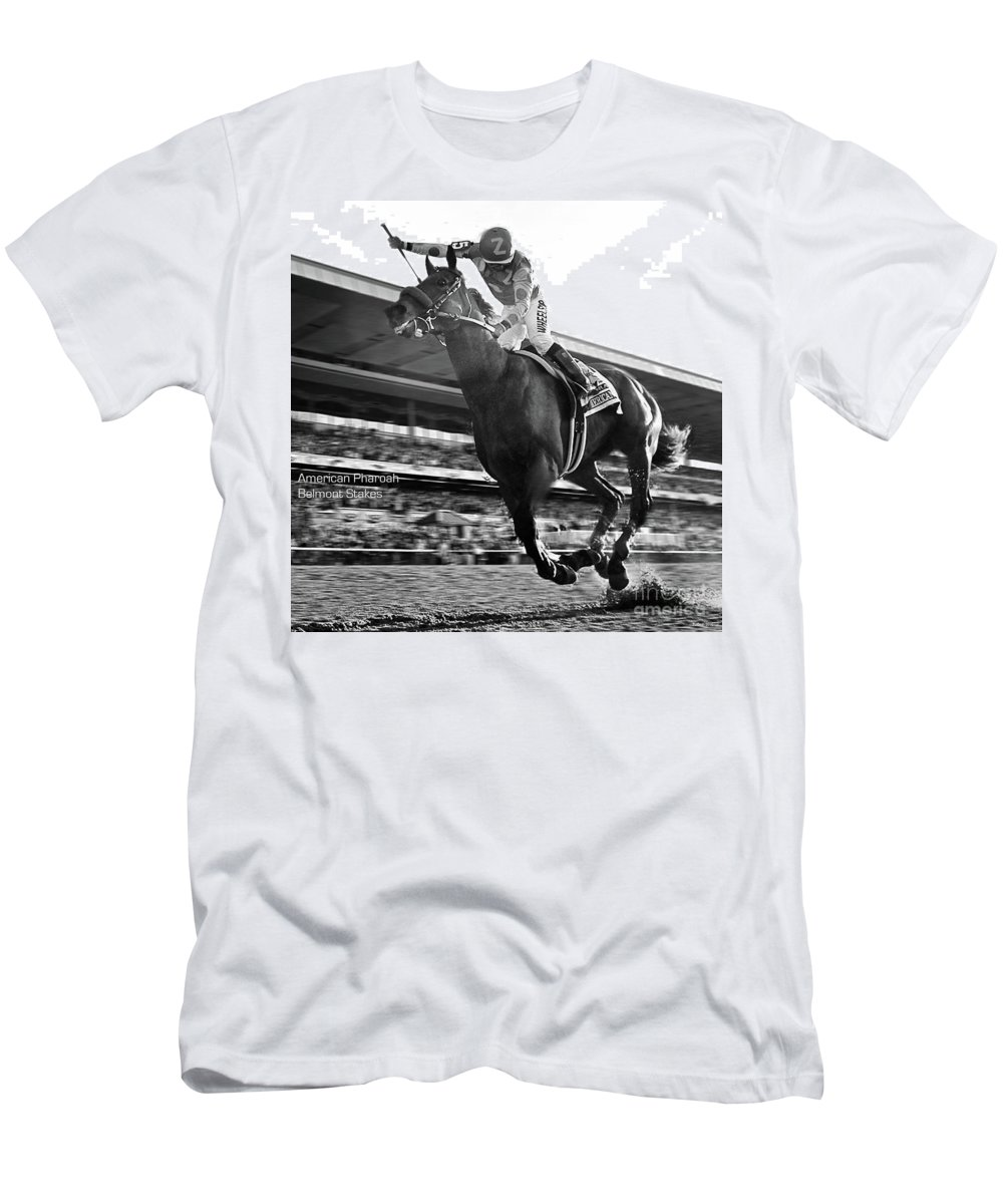 Victor Espinoza T-Shirt featuring the mixed media American Pharoah with Victor Espinoza winning the 2015 Belmont Stakes, Triple Crown by Thomas Pollart