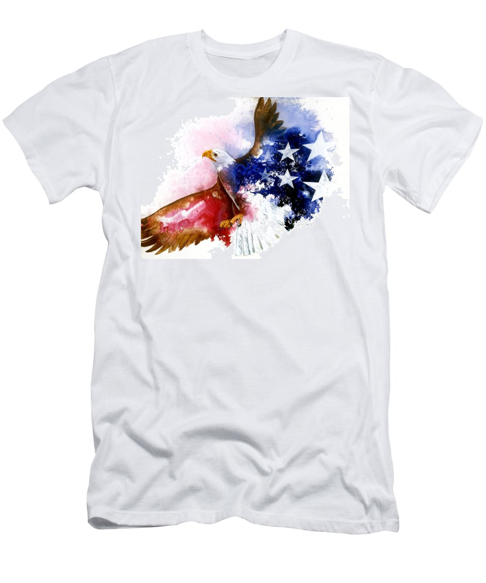 Bird Men's T-Shirt (Athletic Fit) featuring the painting American Spirit by Sherry Shipley