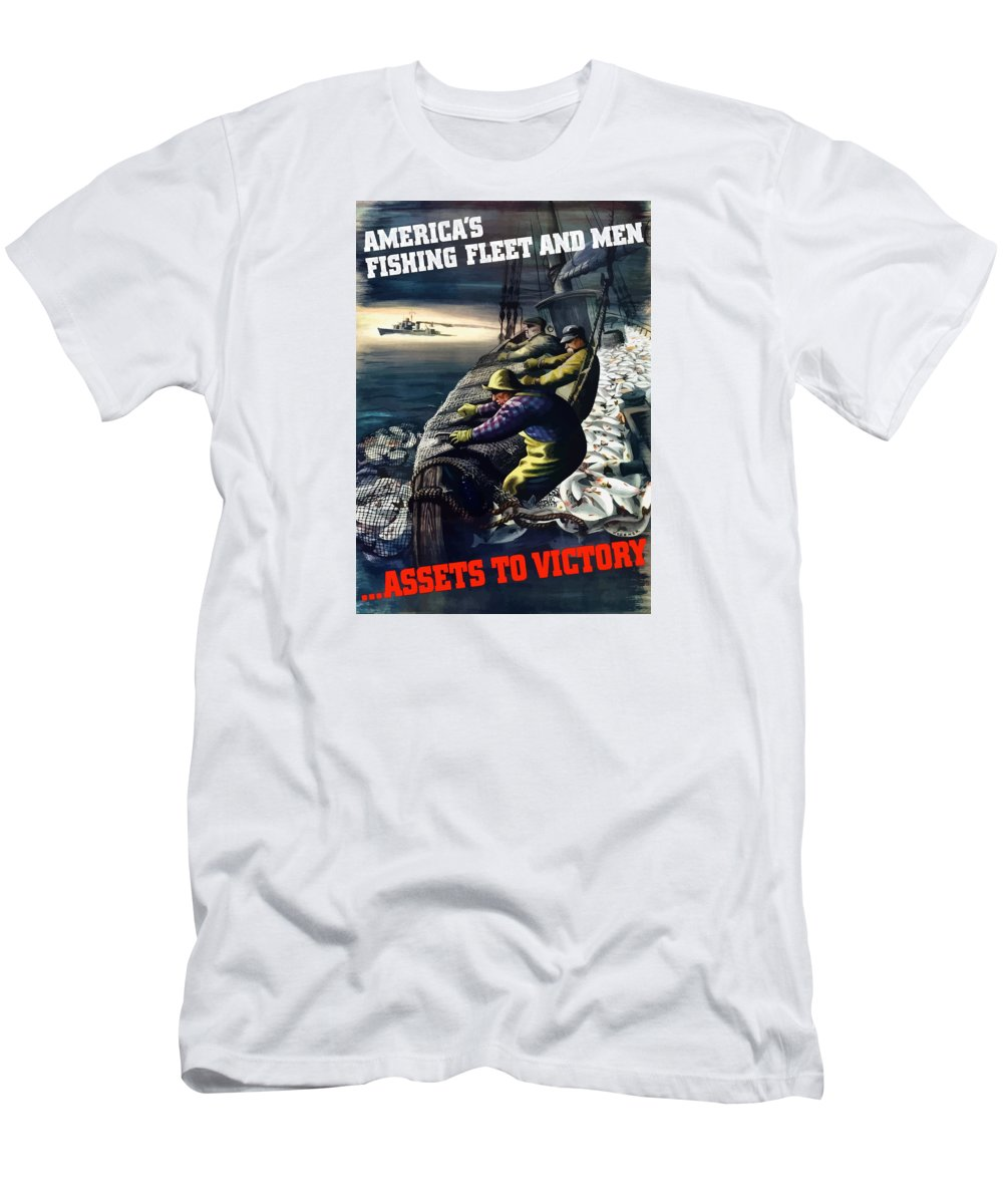 Fishing Men's T-Shirt (Athletic Fit) featuring the painting America's Fishing Fleet And Men by War Is Hell Store
