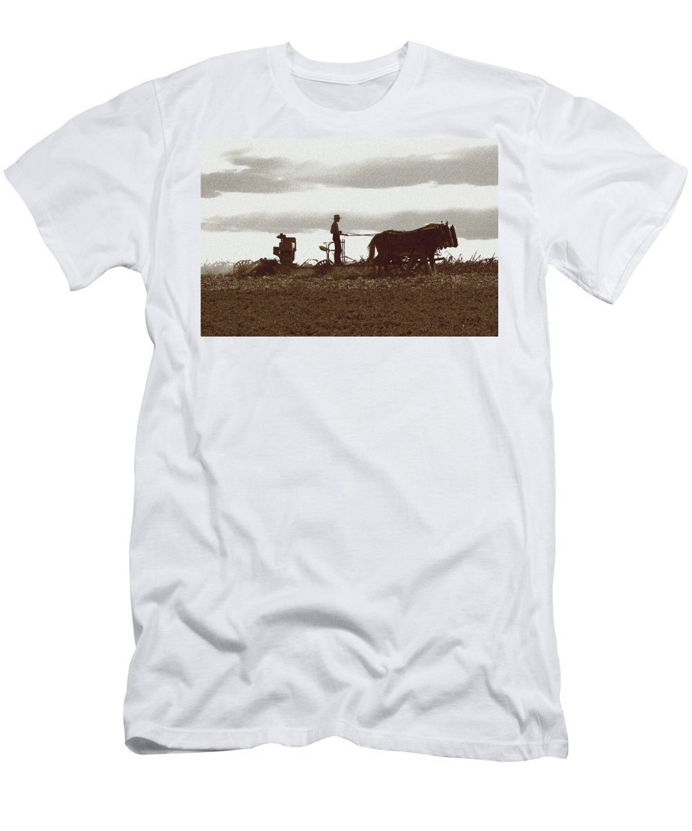 Amish Men's T-Shirt (Athletic Fit) featuring the photograph Amish Farmer 2 by Lou Ford