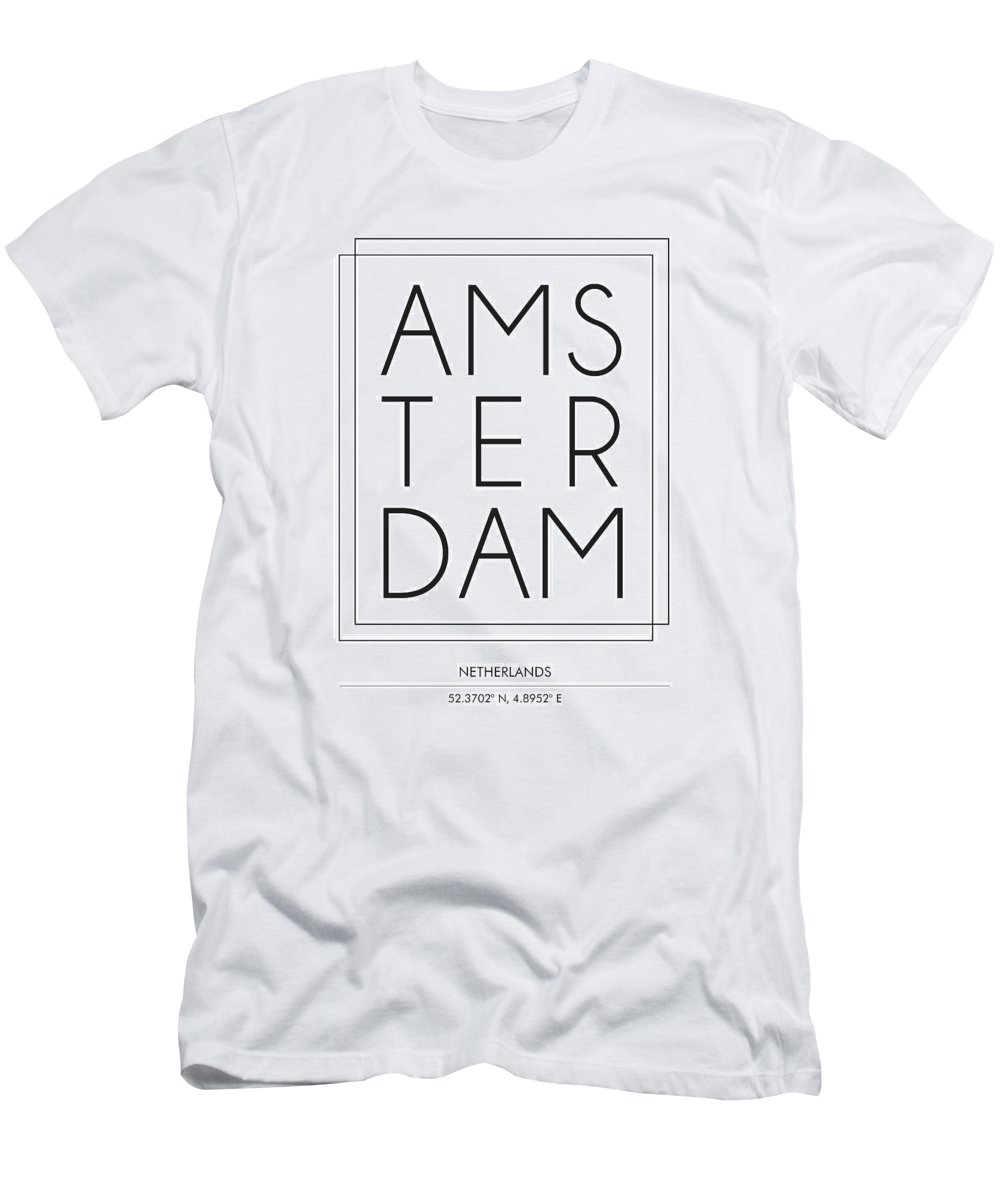 Amsterdam T-Shirt featuring the mixed media Amsterdam, Netherlands - City Name Typography - Minimalist City Posters by Studio Grafiikka