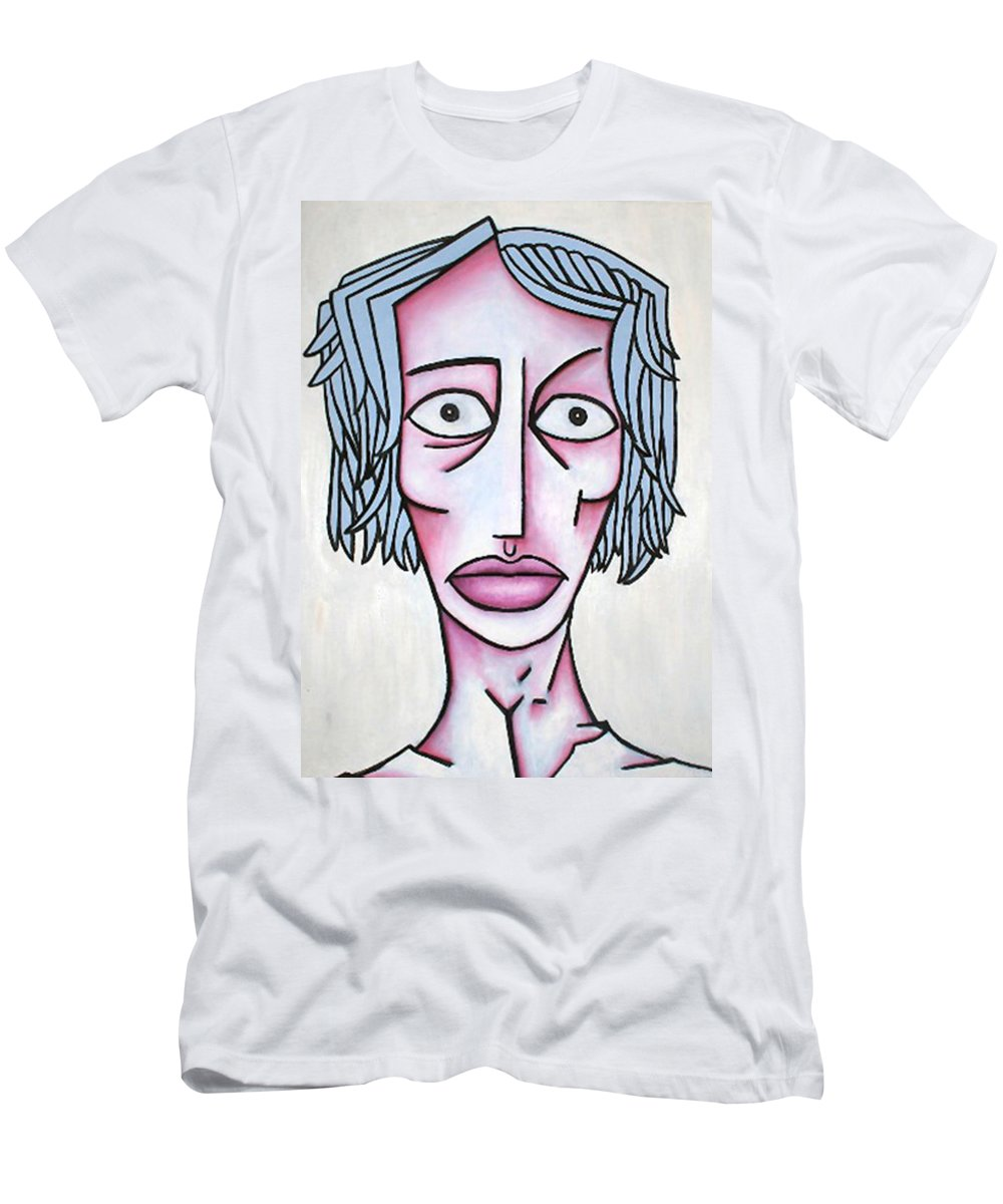 Potrait Men's T-Shirt (Athletic Fit) featuring the painting amy by Thomas Valentine