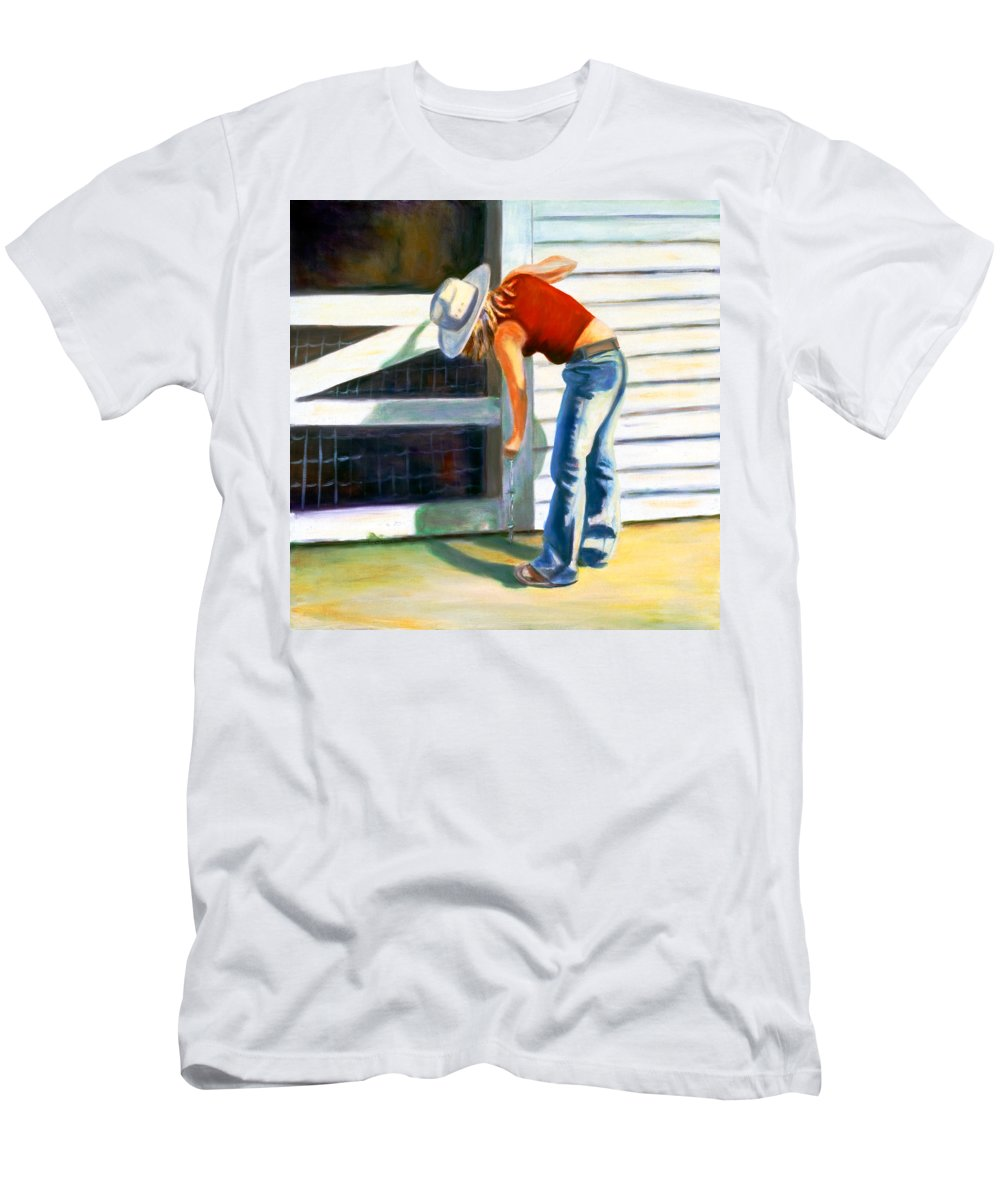 Red Men's T-Shirt (Athletic Fit) featuring the painting An American Girl by Shannon Grissom