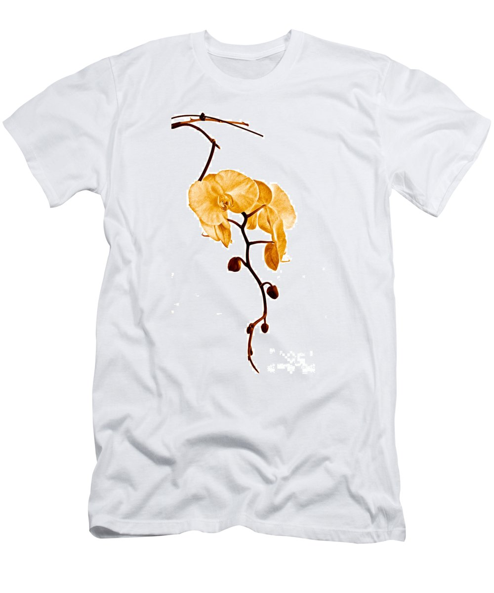 Orchid Men's T-Shirt (Athletic Fit) featuring the photograph An Orchid's Perfume by Gwyn Newcombe