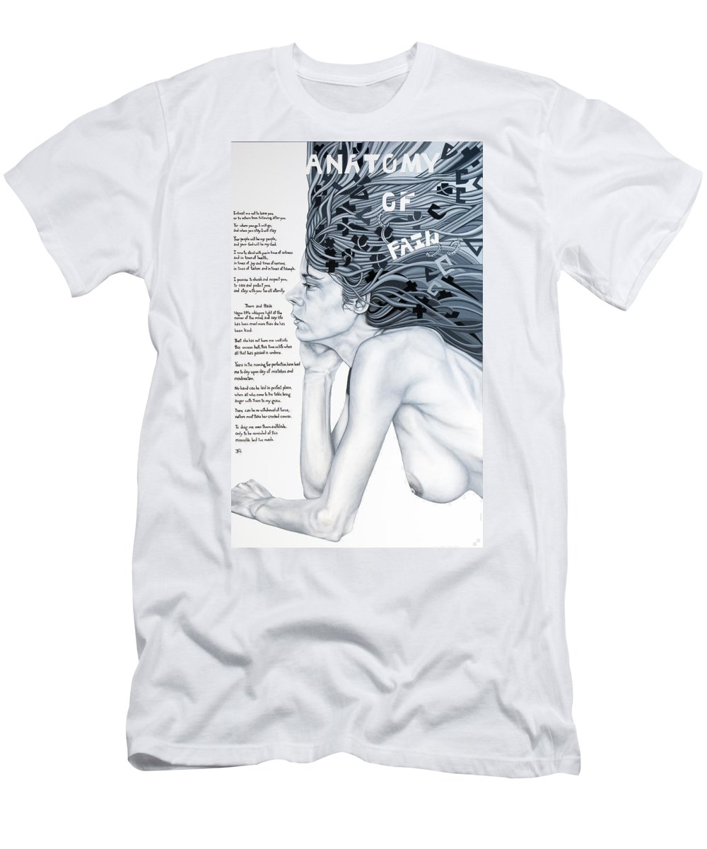 Poetry Men's T-Shirt (Athletic Fit) featuring the painting Anatomy Of Pain by Judy Henninger