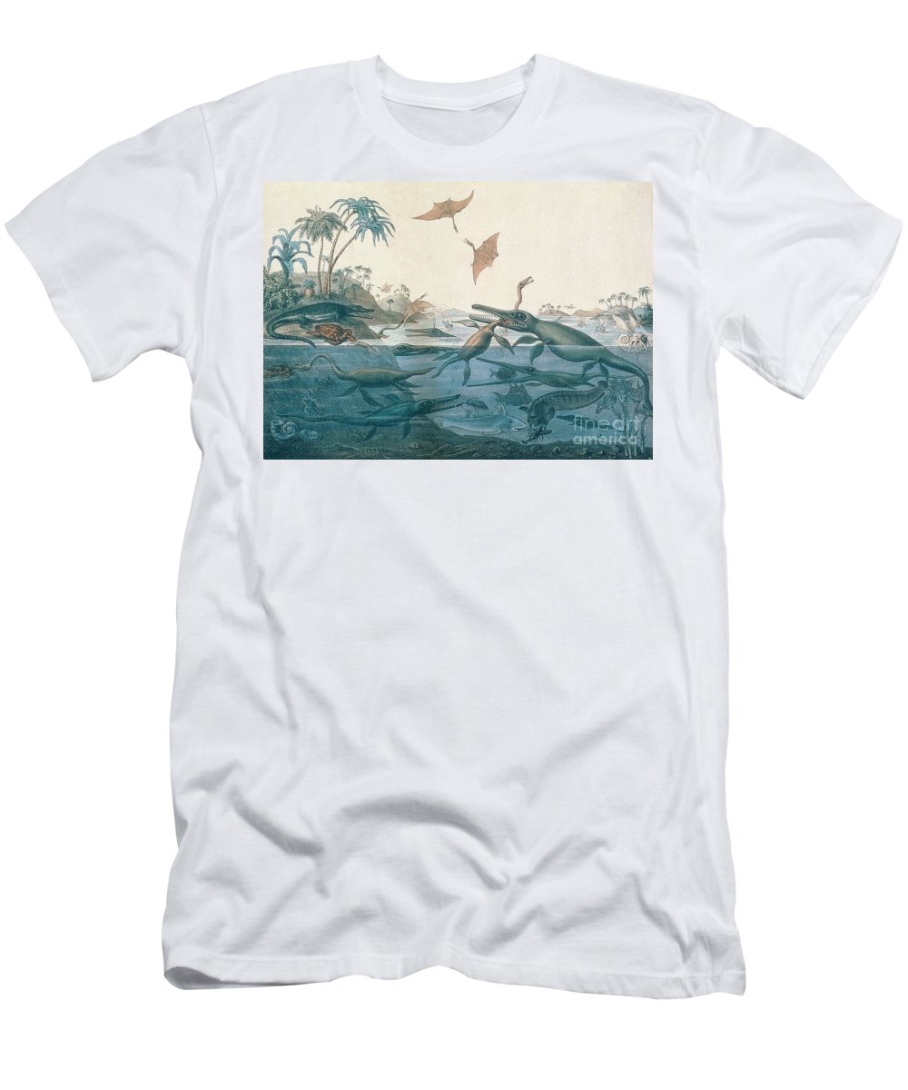 Duria Antiquior (ancient Dorset) Depicting A Imaginative Reconstruction Of The Life Of The Jurassic Seas Men's T-Shirt (Athletic Fit) featuring the drawing Ancient Dorset by Henry Thomas De La Beche