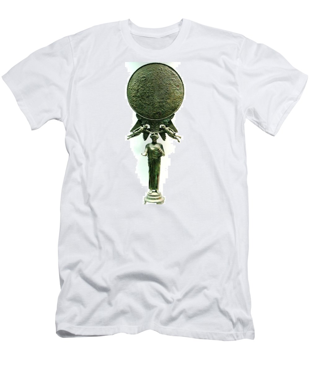 Ancient Bronze Mirror Men's T-Shirt (Athletic Fit) featuring the photograph Ancient Mirror by Andonis Katanos