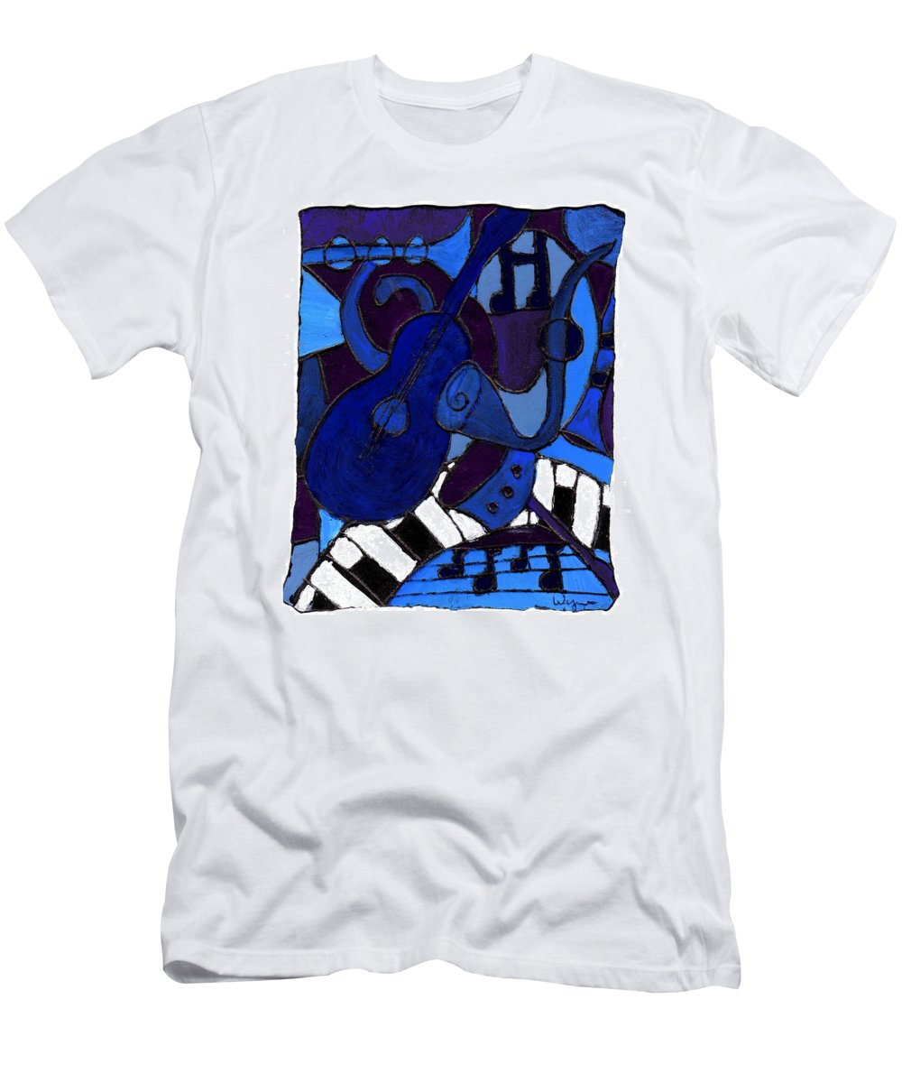Blues Men's T-Shirt (Athletic Fit) featuring the painting and All that Jazz one by Wayne Potrafka