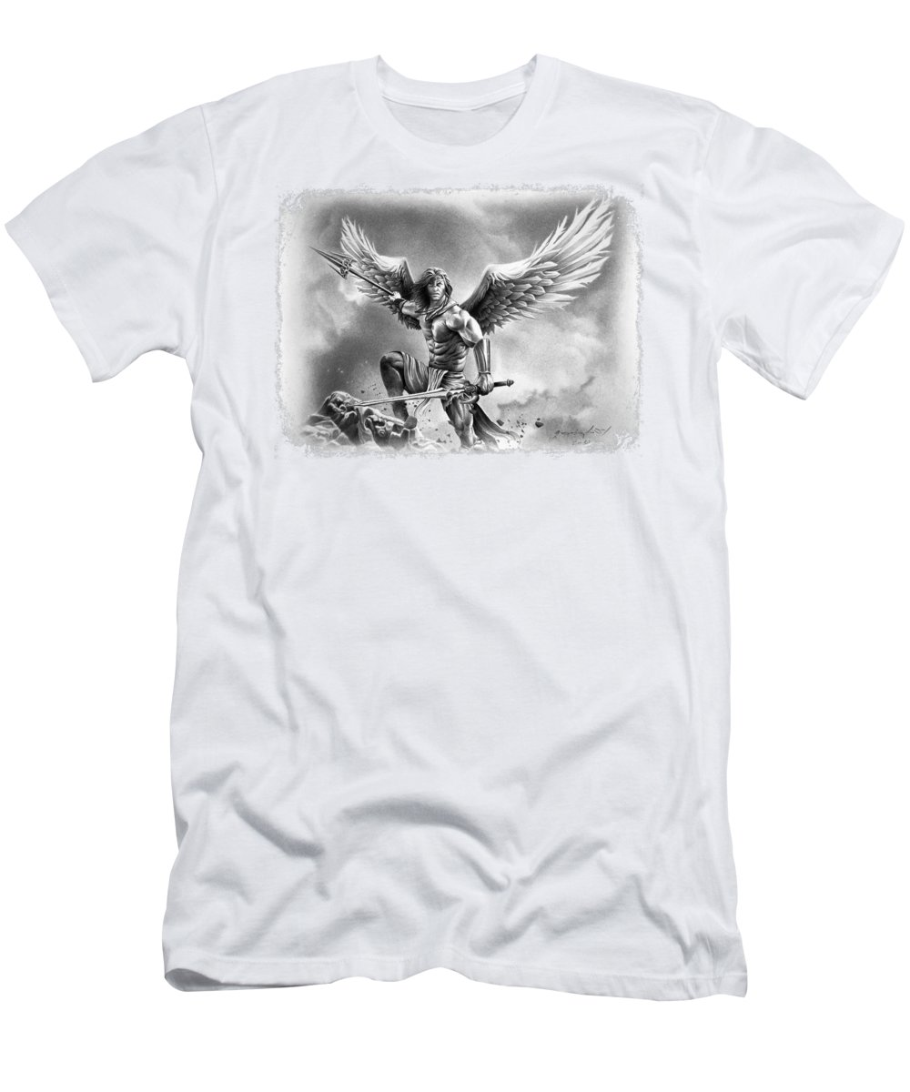 Warrior Men's T-Shirt (Athletic Fit) featuring the drawing Angel Warrior by Miro Gradinscak