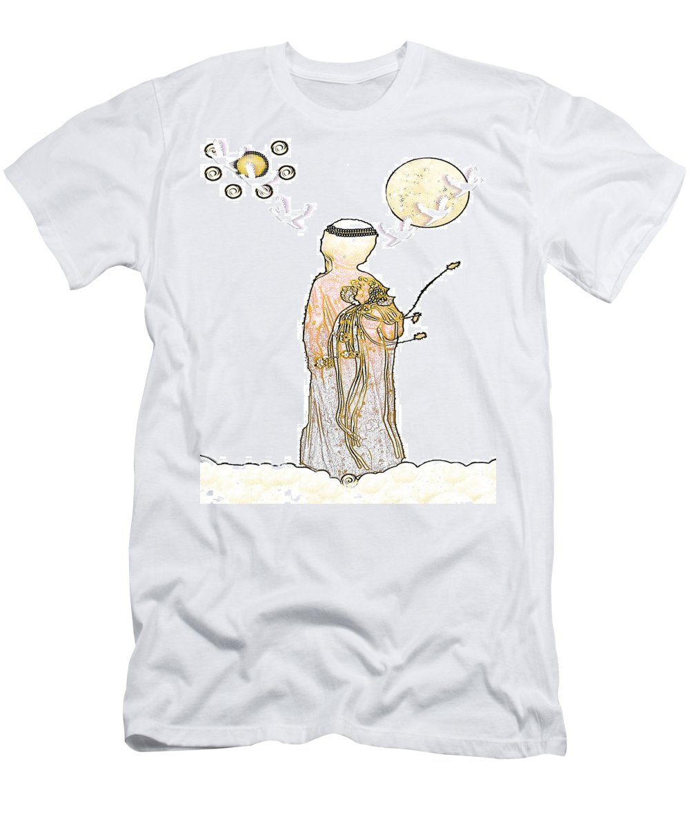 Angel Men's T-Shirt (Athletic Fit) featuring the mixed media Angelita Blanco by Pepita Selles